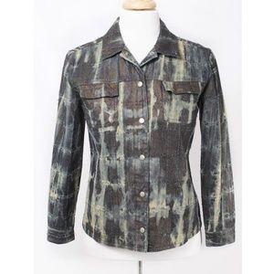 Chico's Patchwork-Look Tie Dye Denim Jacket